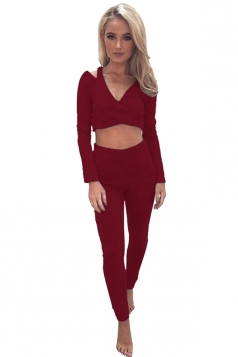 Women Sexy V Neck Cold Shoulder Crop Top Sports Wear Suit Ruby