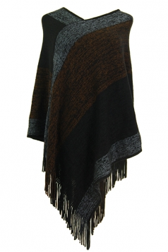 Women Color Block Irregular Fringe Poncho Coffee
