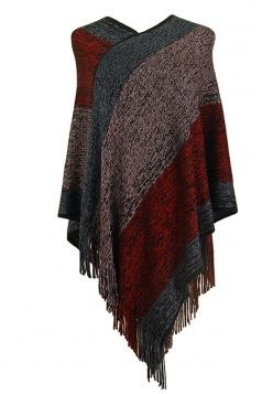 Women Color Block Irregular Fringe Poncho Red