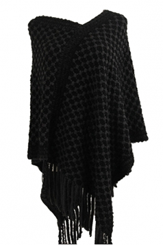 Women Contrast Color Fringe Hem Poncho Dark Gray