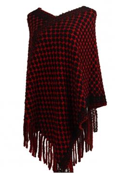Women Contrast Color Fringe Hem Poncho Red