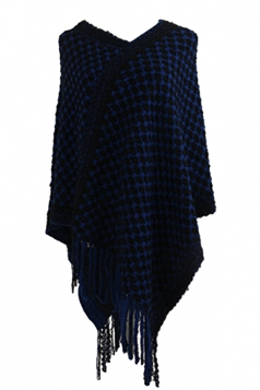 Women Contrast Color Fringe Hem Poncho Navy Blue