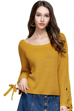 Women Crew Neck Lace Up Flare Sleeve Pullover Sweater Yellow