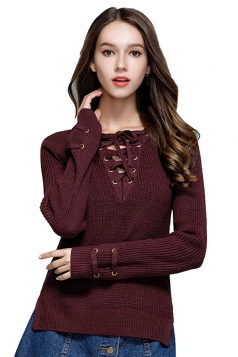 Women Sexy V Neck Lace Up Long Sleeve Pullover Sweater Ruby