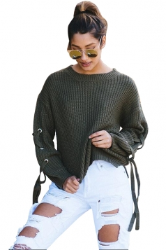 Women Lace Up Sleeve Oversized Plain Pullover Sweater Army Green