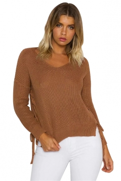 Women V Neck Side Split Lace Up Loose Sweater Ginger