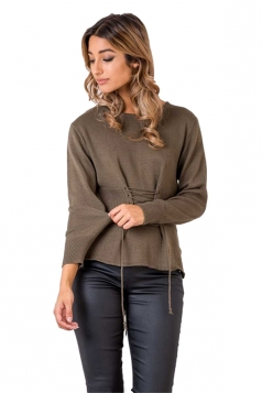 Women Casual Lace Up Long Sleeve Plain Loose Sweaters Army Green