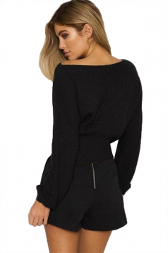 Women Sexy Off Shoulder Long Sleeve Lace Up Plain Sweater Black