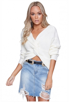Women Sexy V Neck Twist Detail Long Sleeve Sweater White