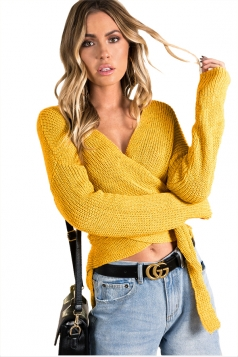 Women Sexy V Neck Cross Bandage Long Sleeve Plain Sweater Yellow