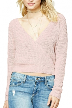 Women Sexy Plain Deep V Neck V Back Sweater Pink