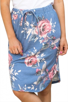 Women Casual Floral Printed Draw String Midi Skirt Blue