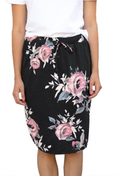 Women Casual Floral Printed Draw String Midi Skirt Black