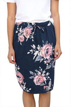 Women Casual Floral Printed Draw String Midi Skirt Navy Blue