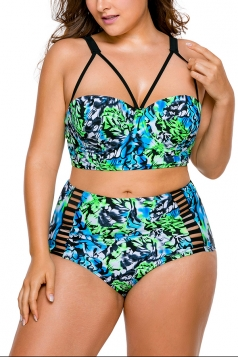 Women Plus Size Print High Waist Bikini Swimsuit Turquoise