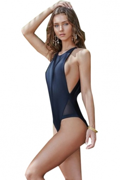 Women Sexy Sheer Patchwork Cut Out One Piece Swimsuit Black
