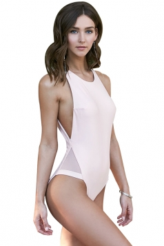 Women Sexy Sheer Patchwork Cut Out One Piece Swimsuit Light Pink