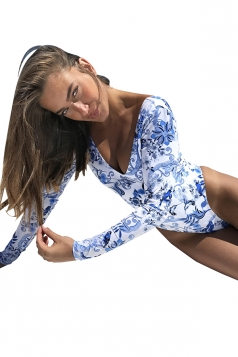 Women Sexy V Neck Printed Cut Out Back Long Sleeve Monokini Blue