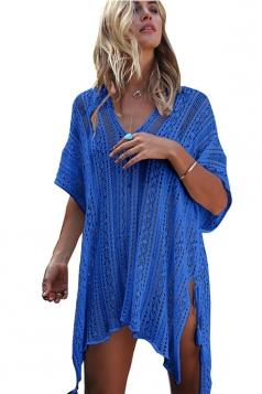 Women Sexy Knit Loose Side Split Beach Wear Dress Blue