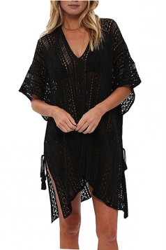 Women Sexy Knit Loose Side Split Beach Wear Dress Black