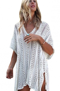 Women Sexy Knit Loose Side Split Beach Wear Dress White
