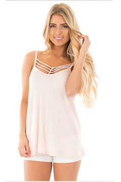 Women Sexy Spaghetti Strap Sleeveless Open Bra Camisole Top Light Pink