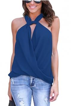 Women Sexy Halter Off Shoulder V-Neck Sleeveless Blouse Blue
