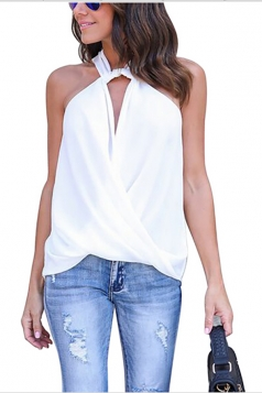 Women Sexy Halter Off Shoulder V-Neck Sleeveless Blouse White