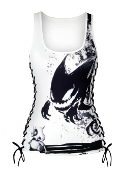 Women Halloween Cubone Print Lace Up Scoop Neck Tank Top Black And White