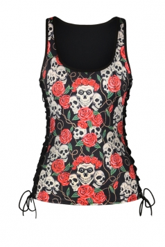 Women Halloween Skull Rose Print Lace Up Scoop Neck Tank Top Red