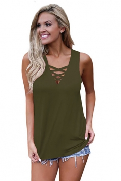 Women Sexy Deep V-Neck Cross Sleeveless Plain Tank Top Army Green
