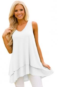 Women V-Neck High Low Ruffled Layer Asymmetric Hem Tank Top White