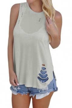Women Casual Sleeveless Cut Out Tank Top Light Gray
