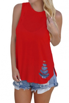 Women Casual Sleeveless Cut Out Tank Top Red