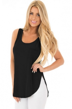 Women Side Slits Tank Top With Pocket Black