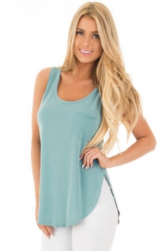 Women Side Slits Tank Top With Pocket Green