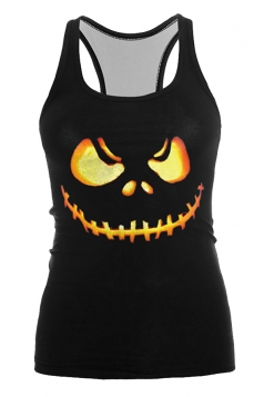 Pumpkin Carving Printed Halloween Tank Top Orange
