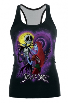 Jack And Sally Printed Halloween Tank Top Black