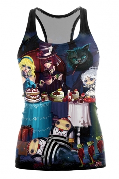 Alice In Wonderland Tea Party Anime Printed Halloween Tank Top Blue