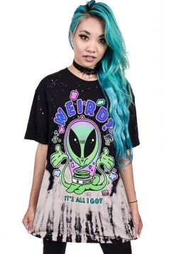 Women Casual Extra-Terrestrial Printed Crew Neck T-Shirt Black