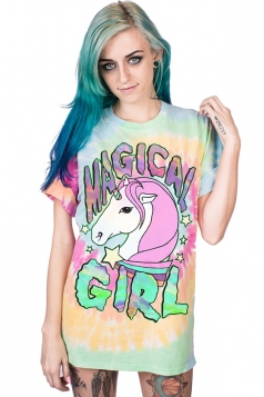 Women Halloween Unicorn Round Neck Short Sleeve T-Shirt Multicolour