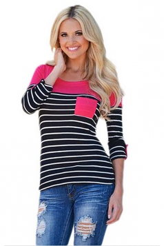 Women Color Block Long Sleeve Crew Neck Striped Blouse Rose Red