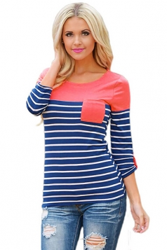 Women Color Block Long Sleeve Crew Neck Striped Blouse Pink