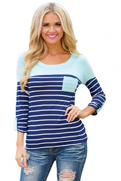 Women Color Block Long Sleeve Crew Neck Striped Blouse Turquoise