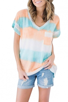 Women Casual V Neck Stripes Short Sleeve T-Shirt Orange