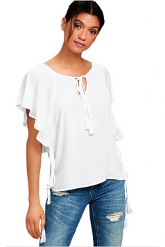 Women Butterfly Sleeve Tasseled Ties T-Shirt White