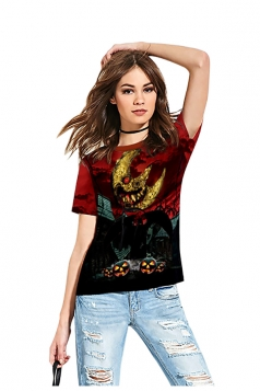 Women Funny Crew Neck Short Sleeve Halloween Printed T-Shirt Dark Red
