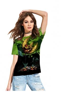 Women Funny Crew Neck Short Sleeve Halloween Printed T-Shirt Green