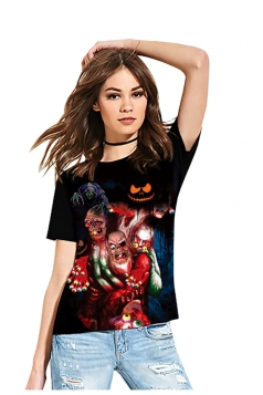 Women Funny Crew Neck Short Sleeve Halloween Printed T-Shirt Black