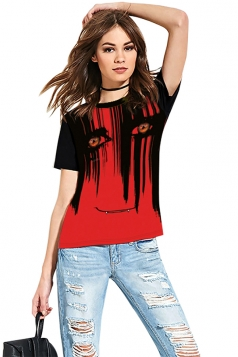 Women Funny Crew Neck Short Sleeve Halloween Printed T-Shirt Red